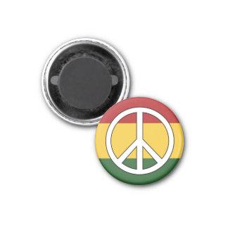 Rasta Colors Peace Symbol 1 Inch Round Magnet