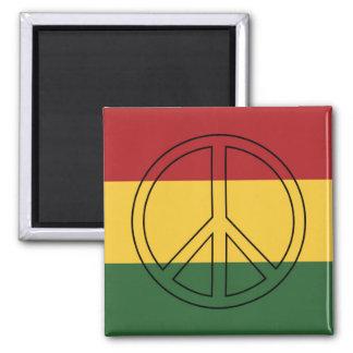 Rasta Colors Peace Symbol 2 Inch Square Magnet