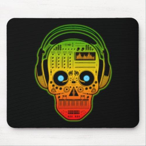 Rasta Day Of Dead, Sugar Skull DJ With Headphones Mouse Pad