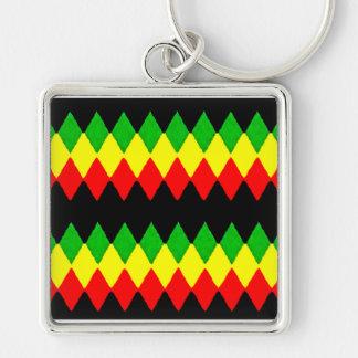 Rasta Diamonds. Red Gold and Green. Jah Rastafari Keychain