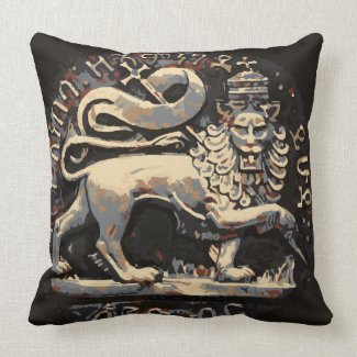 Rasta Earthy Lion of Judah Design Throw Pillow