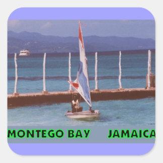Rasta en un velero, Montego Bay Jamaica Pegatina Cuadrada