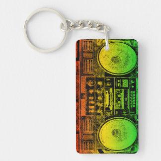 Rasta Ghetto Blaster Rectangular Acrylic Key Chain