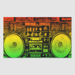 Rasta ghetto blaster rectangular sticker