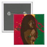 Rasta Girl 2 Inch Square Button