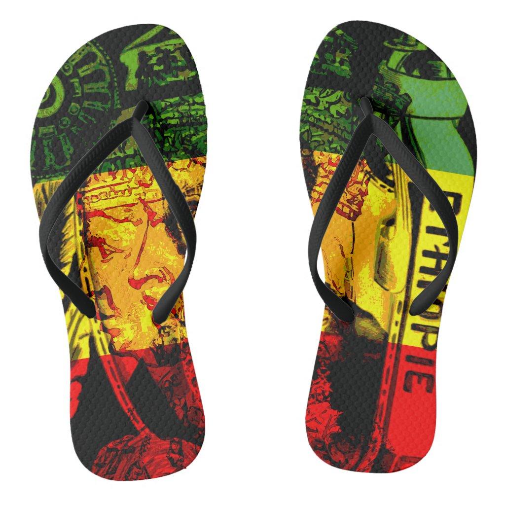 Rasta Haile Selassie Flip Flops