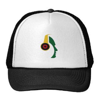 Rasta Headphone Silhouette Face Trucker Hat