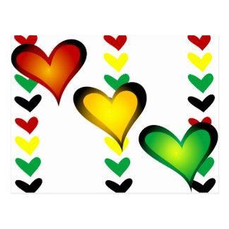Rasta Hearts Postcard