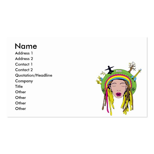 rasta hippie babe business card template