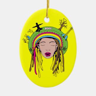 rasta hippie babe christmas ornament