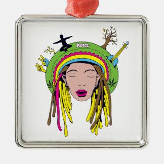 rasta hippie babe ornament