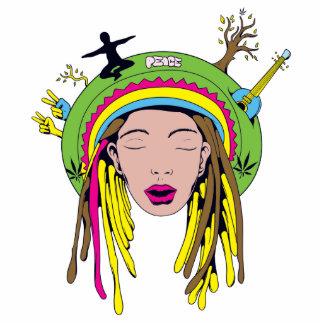 rasta hippie babe photo sculpture keychain