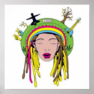 rasta hippie babe poster
