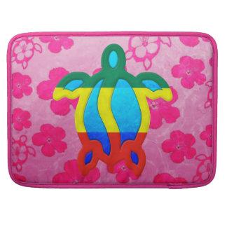Rasta Honu Pink Hibiscus MacBook Pro Sleeves