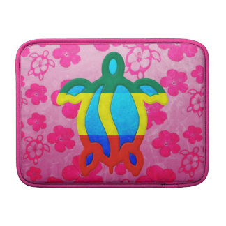 Rasta Honu Pink Hibiscus Sleeve For MacBook Air