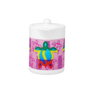 Rasta Honu Pink Tiki Teapot
