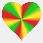 Rasta irradia amarillo verde y rojo colcomanias corazon personalizadas