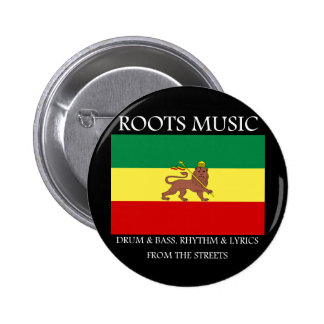 Rasta - león de la bandera de Etiopía de la música Pin Redondo De 2 Pulgadas