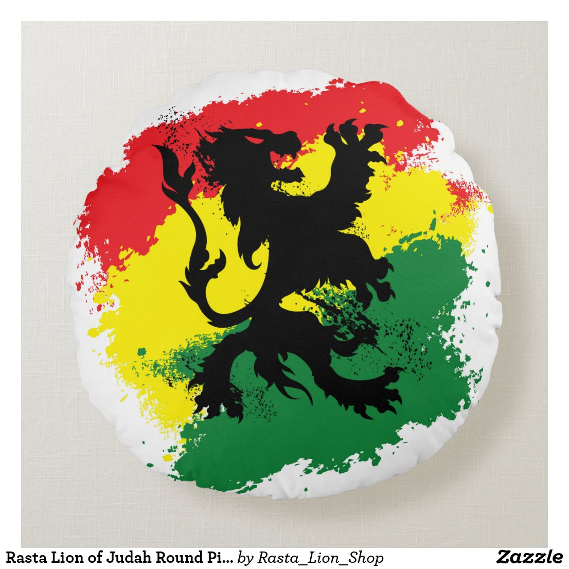 Rasta Lion of Judah Round Pillow
