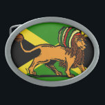 "Rasta Lion Oval Belt Buckle<br><div class=""desc"">Dredlock rasta lion in front of the Jamaican flag</div>"