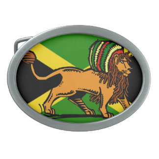Rasta Lion Oval Belt Buckle