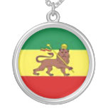 RASTA LION STERLING SIVER CHAIN ROUND PENDANT NECKLACE