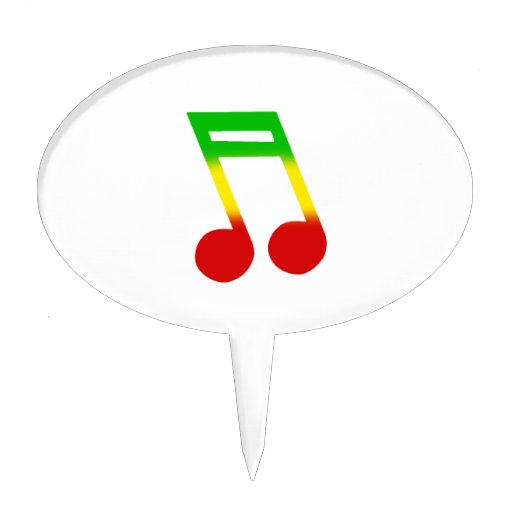 Rasta Music Note Cake Toppers