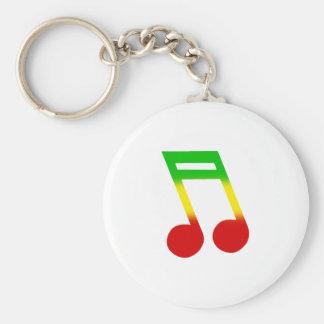 Rasta Music Note Basic Round Button Keychain