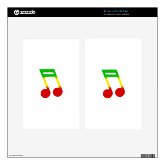 Rasta Music Note Kindle Fire Decal