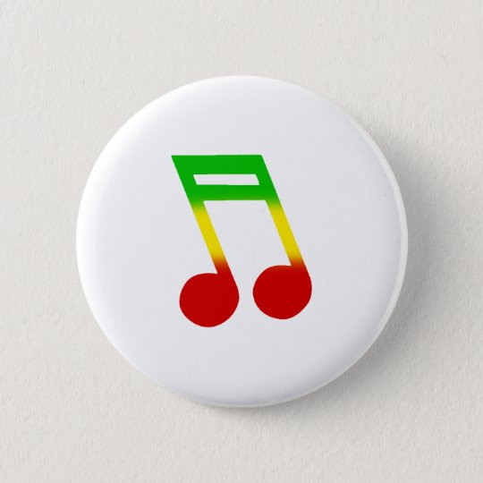 Rasta Music Note Pinback Button