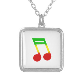 Rasta Music Note Silver Plated Necklace