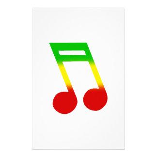 Rasta Music Note Stationery