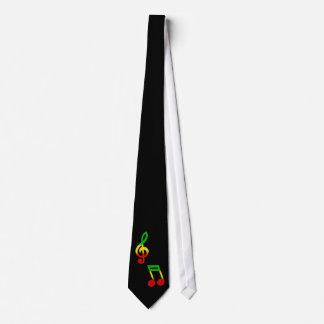 Rasta Note and Treble Clef Black Neck Tie