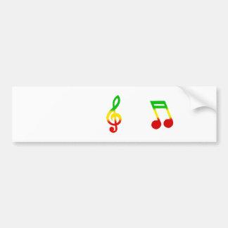 Rasta Note and Treble Clef Car Bumper Sticker