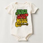 Rasta  Peace-Love-Music Bodysuit