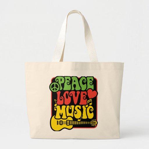Rasta PEACE-LOVE-MUSIC Bolsa De Tela Grande