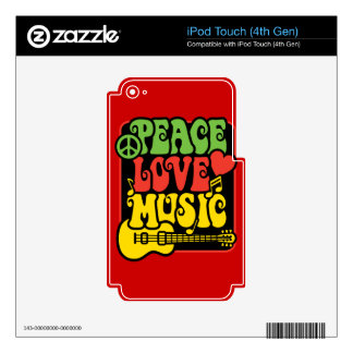 Rasta Peace Love Music Decal For iPod Touch 4G