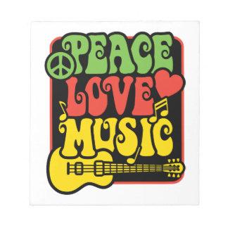 Rasta Peace Love Music Notepad