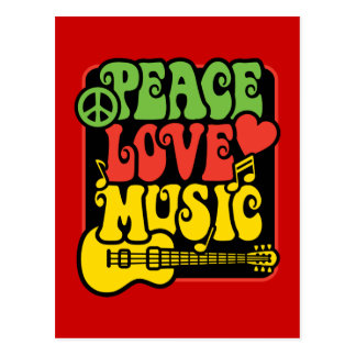 Rasta Peace Love Music Postcard