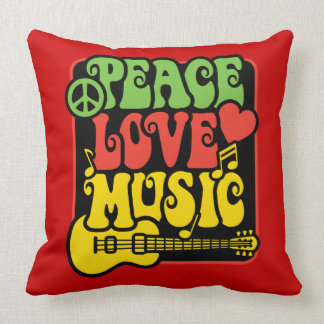 Rasta Peace Love Music Throw Pillow
