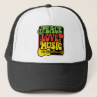 Rasta Peace Love Music Trucker Hat