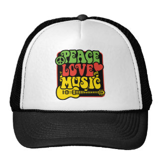 Rasta Peace Love Music Trucker Hat