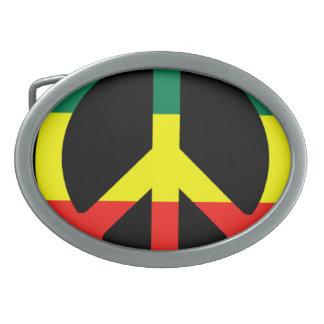 Rasta Peace Sign Oval Belt Buckle