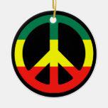 Rasta Peace Sign Christmas Ornament