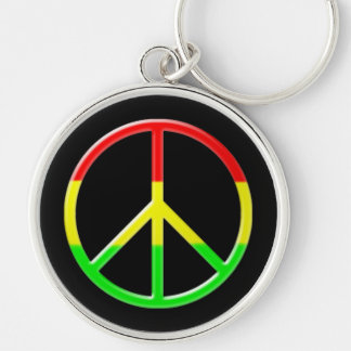 Rasta Peace Silver-Colored Round Keychain