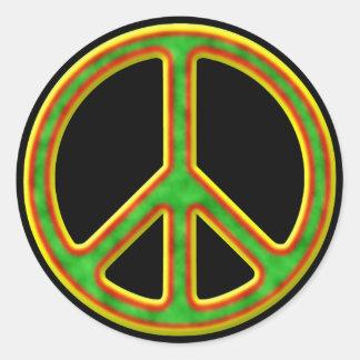 Rasta Peace Symbol Classic Round Sticker