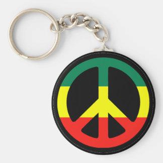 Rasta Peace Symbol Keychain