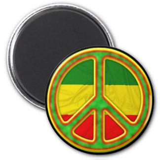 Rasta Peace Symbol 2 Inch Round Magnet