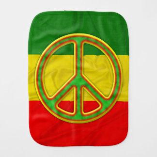 Rasta Peace Symbol Baby Burp Cloths