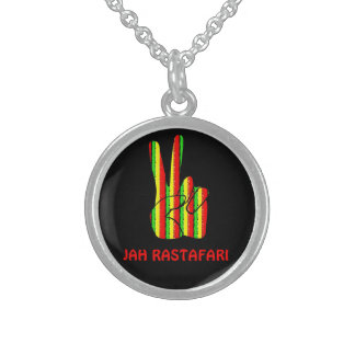 Rasta Peace  Victory Sign Necklace Sterling Silver